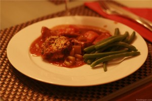 Assiete de mijote de veau aux dumplings